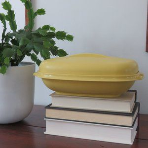 Tupperware Vintage Gold or Yellow Covered Vegetable Serving Bowl with Strainer